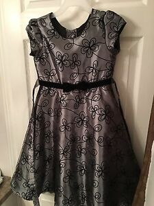 Girls Size 6 Black and Silver Dress