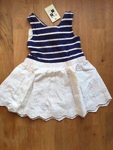 Max Studio - blue cream embroidered dress - 12 months