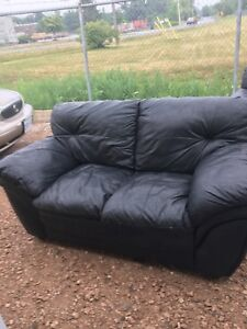 Leather chair and love seat