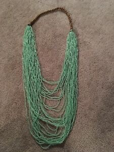 Teal and wood necklace