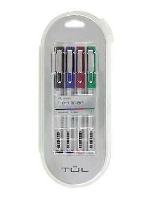 Tul Fine Liner Felt-tip Pens 1.0 Mm Silver Barrels Assorted Inks 4 Pens