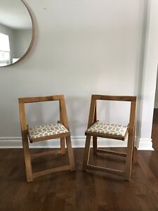 Maple fold-up chairs