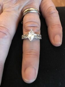 Italian Stirling Silver engagement and wedding ring set size 6