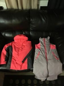 girls 2 in one winter coat size 8 med snow pants size10-12 lg