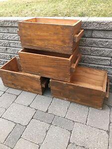 4 antique / vintage wooden crates