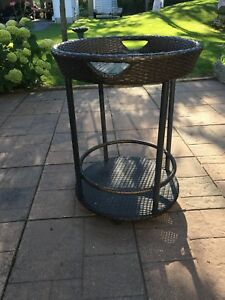 Removable top patio serving cart.