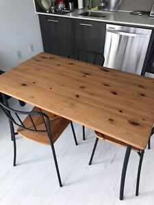 Ikea Wood Dining Table (With 3 Chairs)