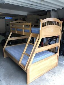 SOLID PINE BUNKBED -  single over double with mattresses