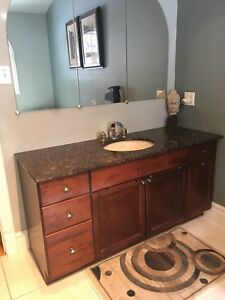 Washroom vanity sink combo 5 feet with granite top