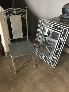 Metal chair and mirror