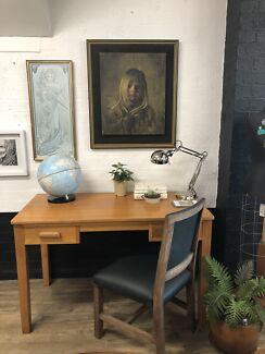 Blonde Wood 2 Drawer Desk