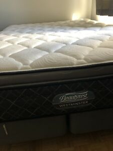 Queen size mattress, box spring, and bed frame