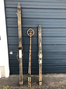 Antique Vintage Wooden Skis and Poles