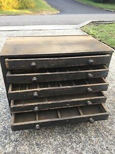 INDUSTRIAL HERITAGE TIMBER CHEST OF ENGINEERS DRAWERS Blaxland Blue Mountains Preview
