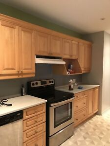 Thermoplast oak color  cabinets, counter sink