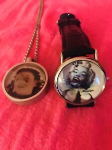 MARILYN MONROE Watches. NECKLACE & LEATHER WRIST WATCH