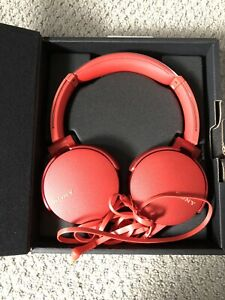 Red Sony Wired Headphones