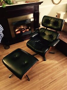 Leather Eames Chair +Ottoman Vintage Mid Century Modern