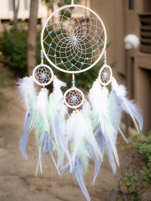 Ombre White Dreamcatcher With White Purple & Indigo Feathers Turquoise Beads
