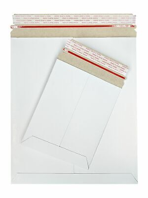 White Stay Flat Cardboard Mailer Pull-tab Strip 28pt 9 X 12 Inch 100 Pack