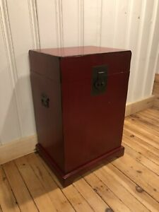 Red box side table storage unit