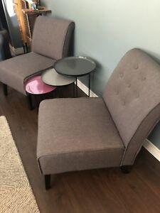 2 beautiful cloth slipper chairs