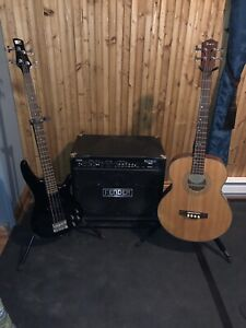 Ampli Fender + bass Ibanez + bass Fender