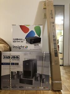 Insight projector + screen+ home theatre system