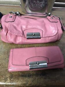 Authentic Coach Pink Leather Purse and Wallet