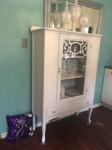Beautiful Antique French Provincial Shabby Chic China Cabinet