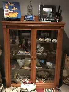 Oak Display Case with Glass Shelves