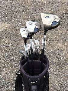 Men's left-hand clubs with carrying bag