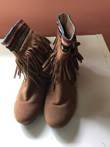 Never worn forever suede booties,size 6 1/2!!