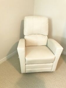 White leather rocking chair recliner