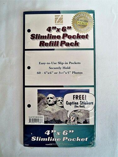 """Brand New Thompson 4""""x6"""" Slimline Pocket Photo Refills, Holds 60 Photos Set of 2"""