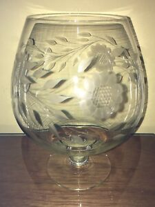 Vintage Hughes Cornflower crystal gigantic brandy snifter