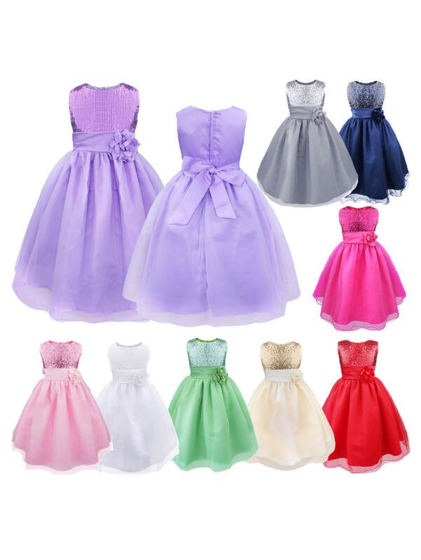 Girls Kids Glitter Sequin Wedding Flower Girl Dress Pageant