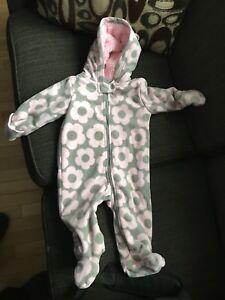 Carters 9 Month Fleece Snowsuit