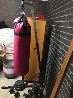 Boxing bag stand with bag and gloves