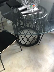 Bamboo glass dining table