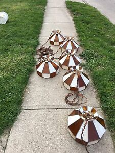 Vintage Stained Hanging Tiffany style chandeliers
