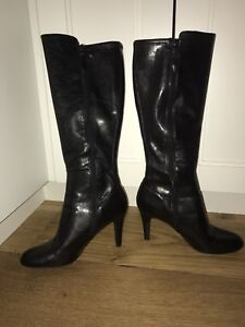 Black leather Franco Sarto high heel boots