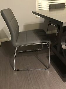 Brand new grey leather chairs (4)