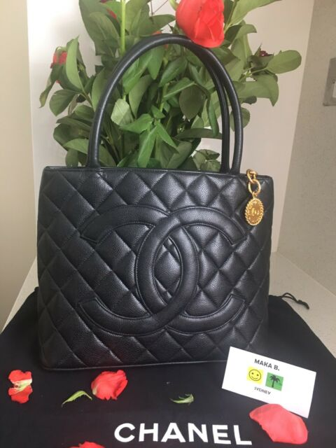 cd331988389a Authentic Chanel Classic Black Caviar Medallion Tote