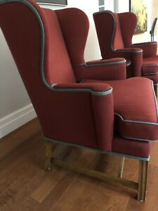 Wing back chairs (2), red upholstery