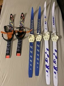 Kids' strap-on skis 3 pairs