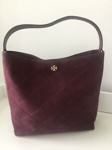 Tory Burch Frida Stitched Suede Hobo Port Bag Handbag