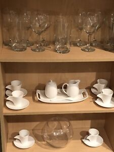 Tea Set, Candles and Glasses for Sale