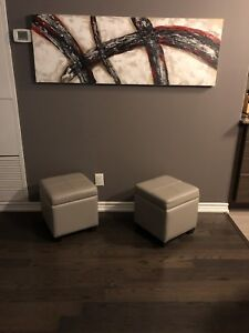 Real Leather Square Storage Ottoman