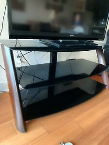 Modern TV Stand, glass shelves with dark wood legs